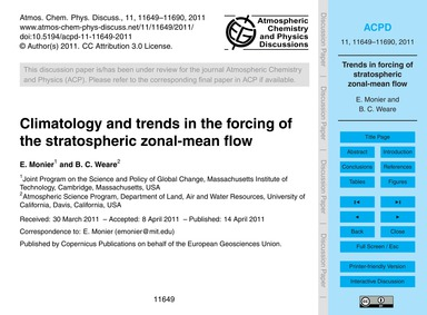 Climatology and Trends in the Forcing of... by Monier, E.
