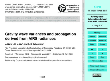 Gravity Wave Variances and Propagation D... by Gong, J.