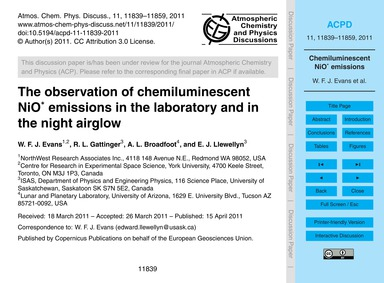 The Observation of Chemiluminescent Nio*... by Evans, W. F. J.