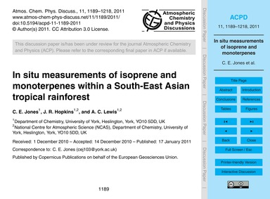 In Situ Measurements of Isoprene and Mon... by Jones, C. E.