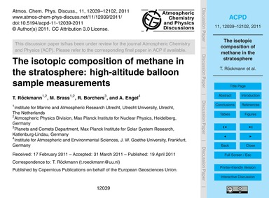The Isotopic Composition of Methane in t... by Röckmann, T.