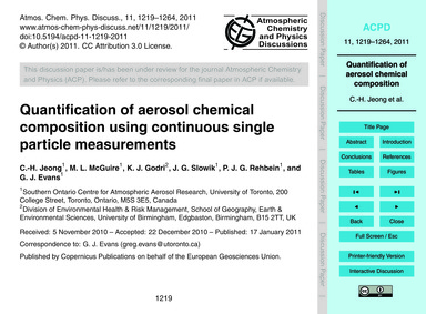 Quantification of Aerosol Chemical Compo... by Jeong, C.-h.