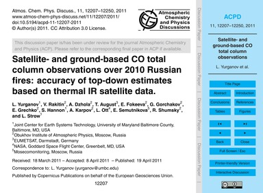 Satellite- and Ground-based Co Total Col... by Yurganov, L.