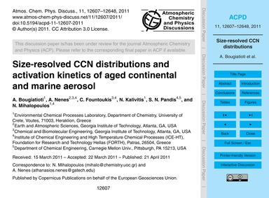 Size-resolved Ccn Distributions and Acti... by Bougiatioti, A.