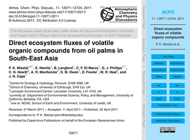 Direct Ecosystem Fluxes of Volatile Orga... by Misztal, P. K.