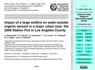 Impact of a Large Wildfire on Water-solu... by Wonaschütz, A.