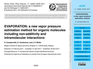 Evaporation: a New Vapor Pressure Estima... by Compernolle, S.
