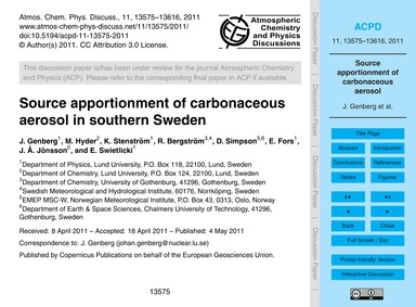 Source Apportionment of Carbonaceous Aer... by Genberg, J.