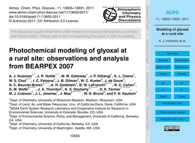 Photochemical Modeling of Glyoxal at a R... by Huisman, A. J.