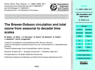 The Brewer-dobson Circulation and Total ... by Weber, M.