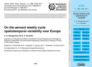On the Aerosol Weekly Cycle Spatiotempor... by Georgoulias, A. K.