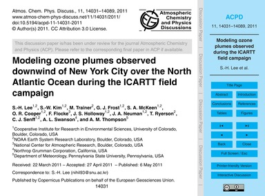 Modeling Ozone Plumes Observed Downwind ... by Lee, S.-h.