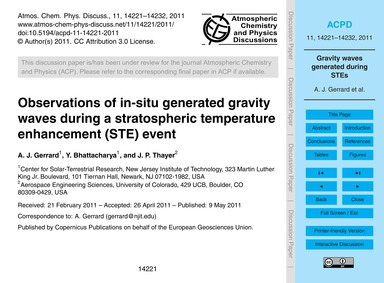 Observations of In-situ Generated Gravit... by Gerrard, A. J.