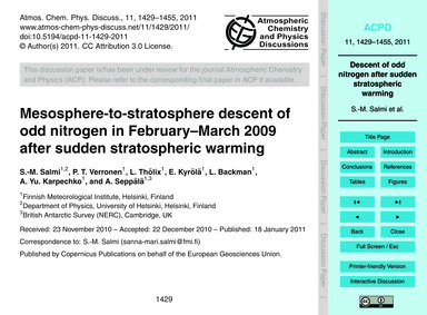 Mesosphere-to-stratosphere Descent of Od... by Salmi, S.-m.