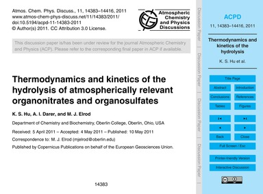 Thermodynamics and Kinetics of the Hydro... by Hu, K. S.