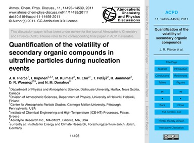 Quantification of the Volatility of Seco... by Pierce, J. R.