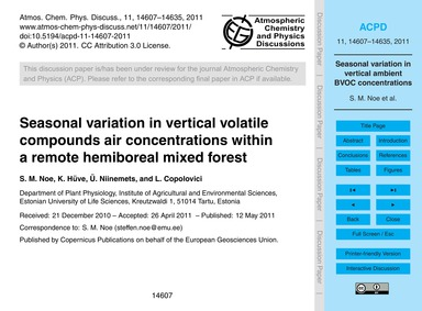 Seasonal Variation in Vertical Volatile ... by Noe, S. M.