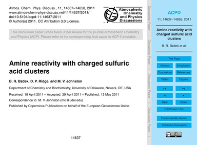 Amine Reactivity with Charged Sulfuric A... by Bzdek, B. R.