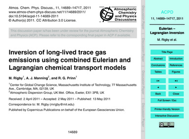 Inversion of Long-lived Trace Gas Emissi... by Rig, M.