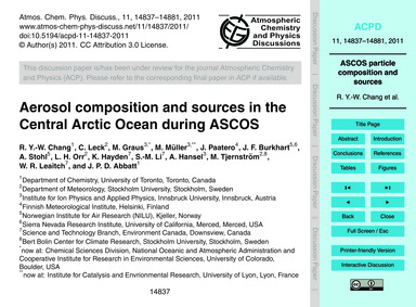 Aerosol Composition and Sources in the C... by Chang, R. Y.-w.