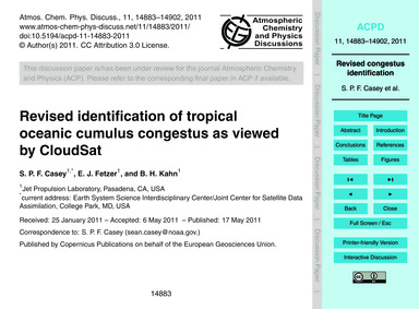 Revised Identification of Tropical Ocean... by Casey, S. P. F.