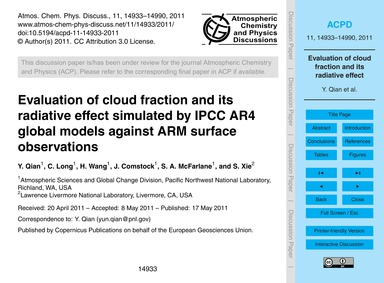 Evaluation of Cloud Fraction and Its Rad... by Qian, Y.