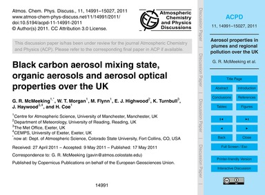 Black Carbon Aerosol Mixing State, Organ... by McMeeking, G. R.