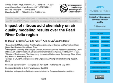 Impact of Nitrous Acid Chemistry on Air ... by Zhang, R.