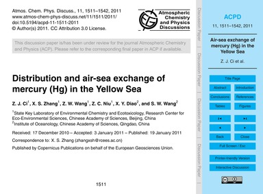 Distribution and Air-sea Exchange of Mer... by Ci, Z. J.