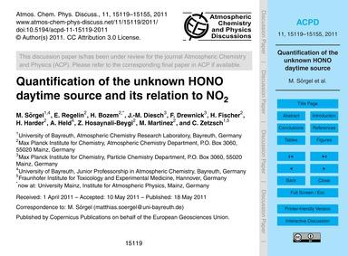Quantification of the Unknown Hono Dayti... by Sörgel, M.