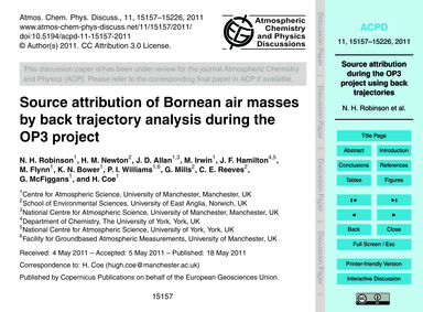 Source Attribution of Bornean Air Masses... by Robinson, N. H.