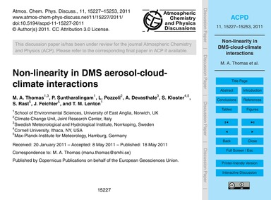 Non-linearity in Dms Aerosol-cloud-clima... by Thomas, M. A.