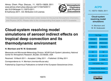 Cloud-system Resolving Model Simulations... by Morrison, H.