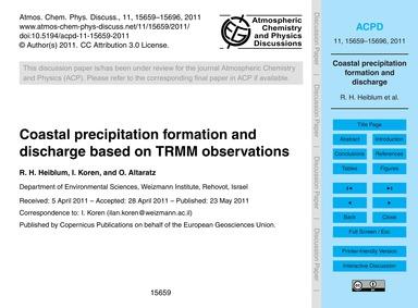 Coastal Precipitation Formation and Disc... by Heiblum, R. H.