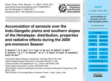 Accumulation of Aerosols Over the Indo-g... by Gautam, R.