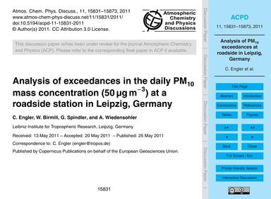 Analysis of Exceedances in the Daily Pm1... by Engler, C.
