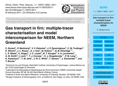 Gas Transport in Firn: Multiple-tracer C... by Buizert, C.