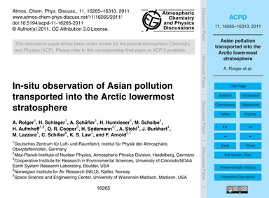 In-situ Observation of Asian Pollution T... by Roiger, A.