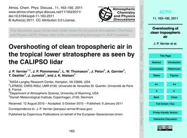 Overshooting of Clean Tropospheric Air i... by Vernier, J. P.