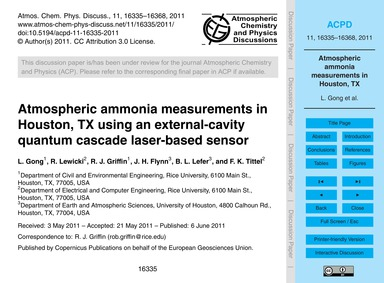Atmospheric Ammonia Measurements in Hous... by Gong, L.