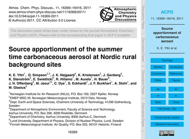 Source Apportionment of the Summer Time ... by Yttri, K. E.