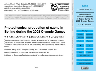 Photochemical Production of Ozone in Bei... by Chou, C. C.-k.