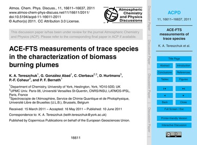 Ace-fts Measurements of Trace Species in... by Tereszchuk, K. A.
