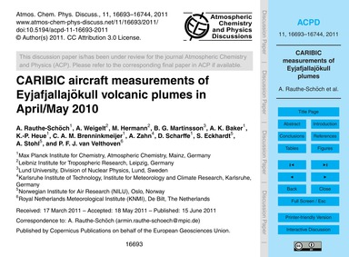 Caribic Aircraft Measurements of Eyjafja... by Rauthe-schöch, A.