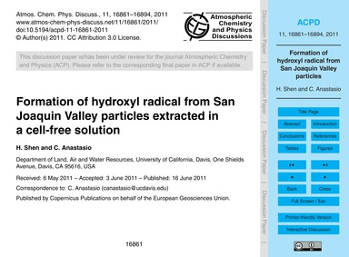 Formation of Hydroxyl Radical from San J... by Shen, H.