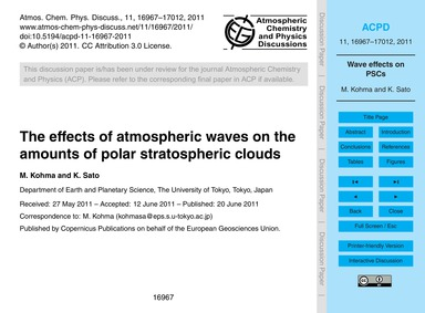 The Effects of Atmospheric Waves on the ... by Kohma, M.