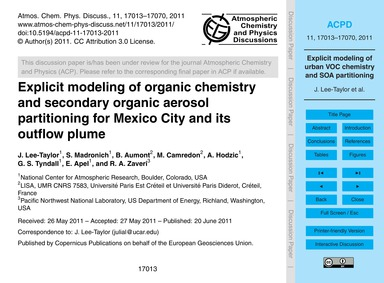 Explicit Modeling of Organic Chemistry a... by Lee-taylor, J.