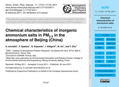 Chemical Characteristics of Inorganic Am... by Ianniello, A.