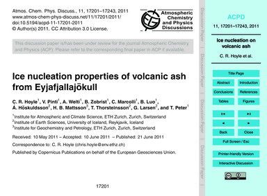 Ice Nucleation Properties of Volcanic As... by Hoyle, C. R.