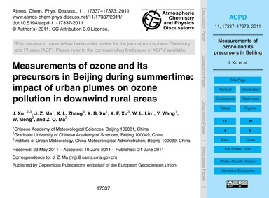 Measurements of Ozone and Its Precursors... by Xu, J.